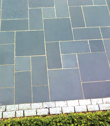 antique vintage black limestone paving