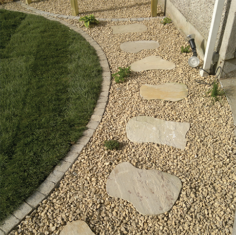 Indian Sandstone Paving Cobbles Circles Kerb Stones