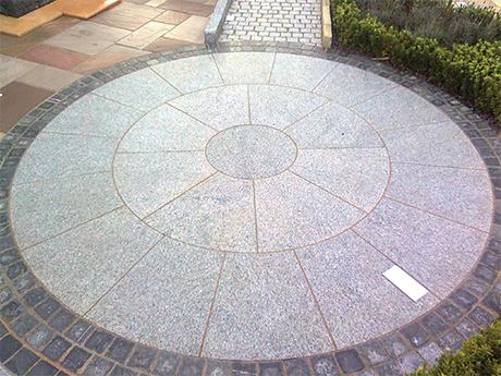 silver grey granite circle