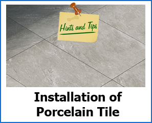 installation of porcelain tile