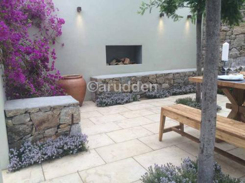 Alan Rudden Bloom Show Garden with Menya Egyptian Limestone Paving Supplied by Natural Stone Yard