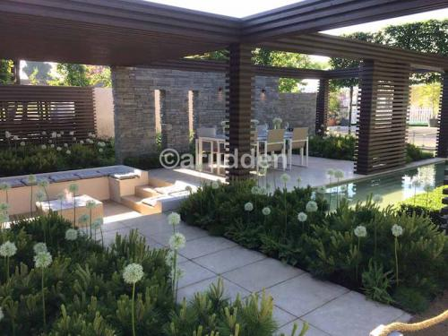 Alan Rudden Bloom Show Garden with Sinai Pearl Egyptian Limestone Paving Supplied by Natural Stone Yard