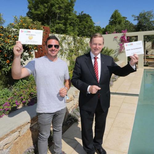 Alan Rudden Receiving his Gold Medal using Menya Egyptian Limestone Paving Supplied By Natural Stone Yard