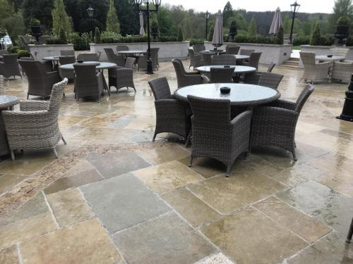 Cabra Castle Project Vintage Tandur Yellow Limestone Paving Used In Patio Area