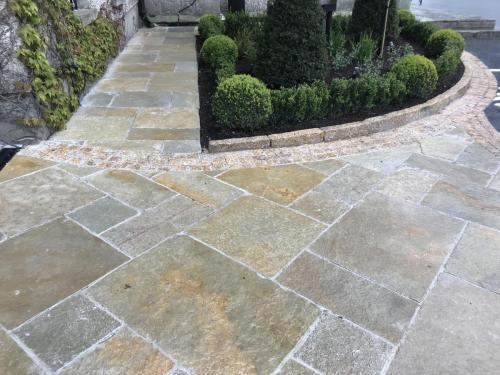 Cabra Castle Project with Vintage Tandur Yellow limestone Paving   Vietnamese Gold Granite Kerb  cobbles