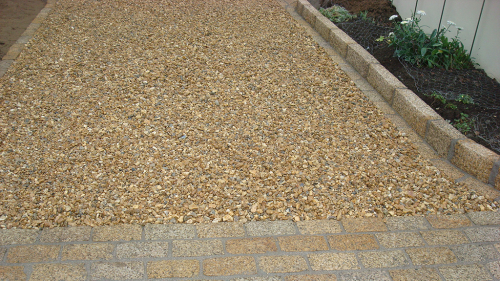 Gold Granite Cobble 20x10x7cm, Gold Granite Kerbstone & Large Brown Shingle On Driveway