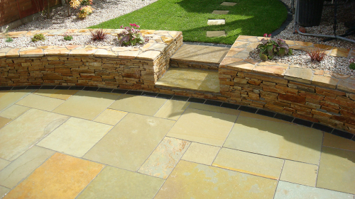 Yellow Limestone Patio By Flynn Landscpaes