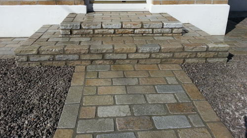 Yellow Limestone 15x15 & 20x10 used On Pathway & Step