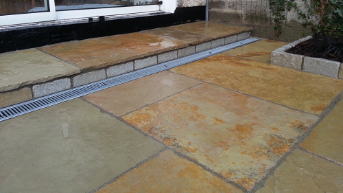 Yellow Limestone Paving Used On Steps