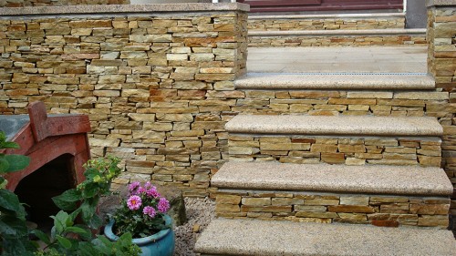 Gold Brown Quartz Garden Walling Used To Create Wall & Steps